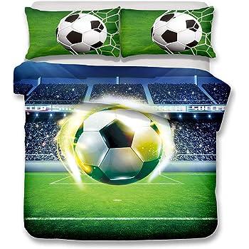Stillshine Juego de funda nórdica diseño de balones de fútbol y ...