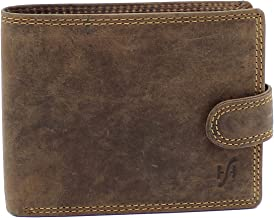 STARHIDE Mens RFID Blocking Distressed Hunter Leather Notecase Wallet Coins and Id Card Holder 710 Brown