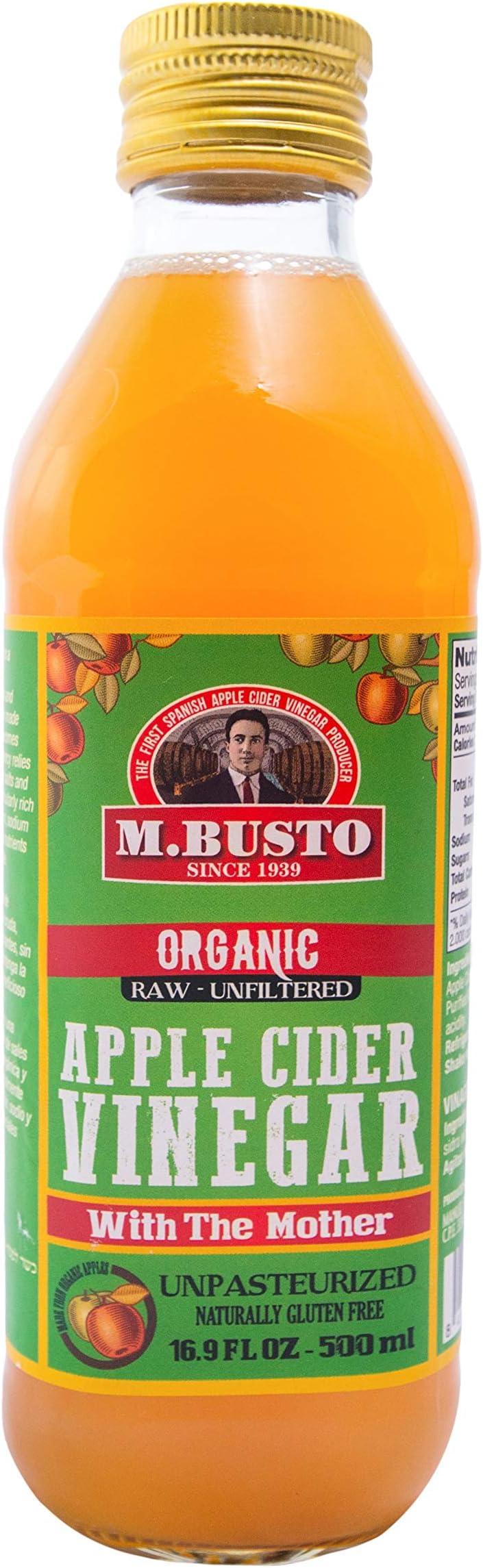 Aceto di sidro 100% naturale e biologico (2 bottiglie di vetro da 500 ml ciascuna) m. busto B07Y9MHZNY
