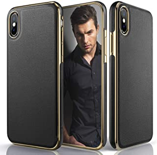 LOHASIC Leather Case for iPhone Xs Max, Luxury Slim Fit Flexible Soft Full Body Grip Hybrid Bumper Shockproof Protective Cover Cases Compatible with Apple iPhone Xs Max (2018) 6.5 inch - Black