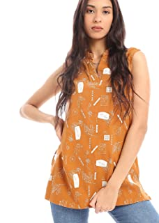 Andora Patterned V-Neck Side Slit Sleeveless Blouse for Women XXL
