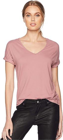 Short Dolman Sleeve V-Neck Shirttail Top w/ Back Yoke
