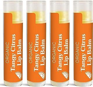 USDA Organic Lip Balm by Sky Organics - 4 Pack Citrus Lip Balms With Beeswax, Coconut Oil, Vitamin E. Best Lip Plumper Cha...