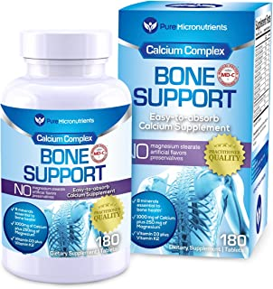 Calcium Supplement (Citrate & Hydroxyapatite 1000mg) for Complete Bone Health + Magnesium, K2, Vitamin D & More, 180 Tablets - Pure Micronutrients