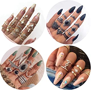 41Pcs Vintage Knuckle Rings Set Gemstone Bohemian Stackable Finger Rings Midi Rings for Women Hollow Carved Flowers Gold&S...