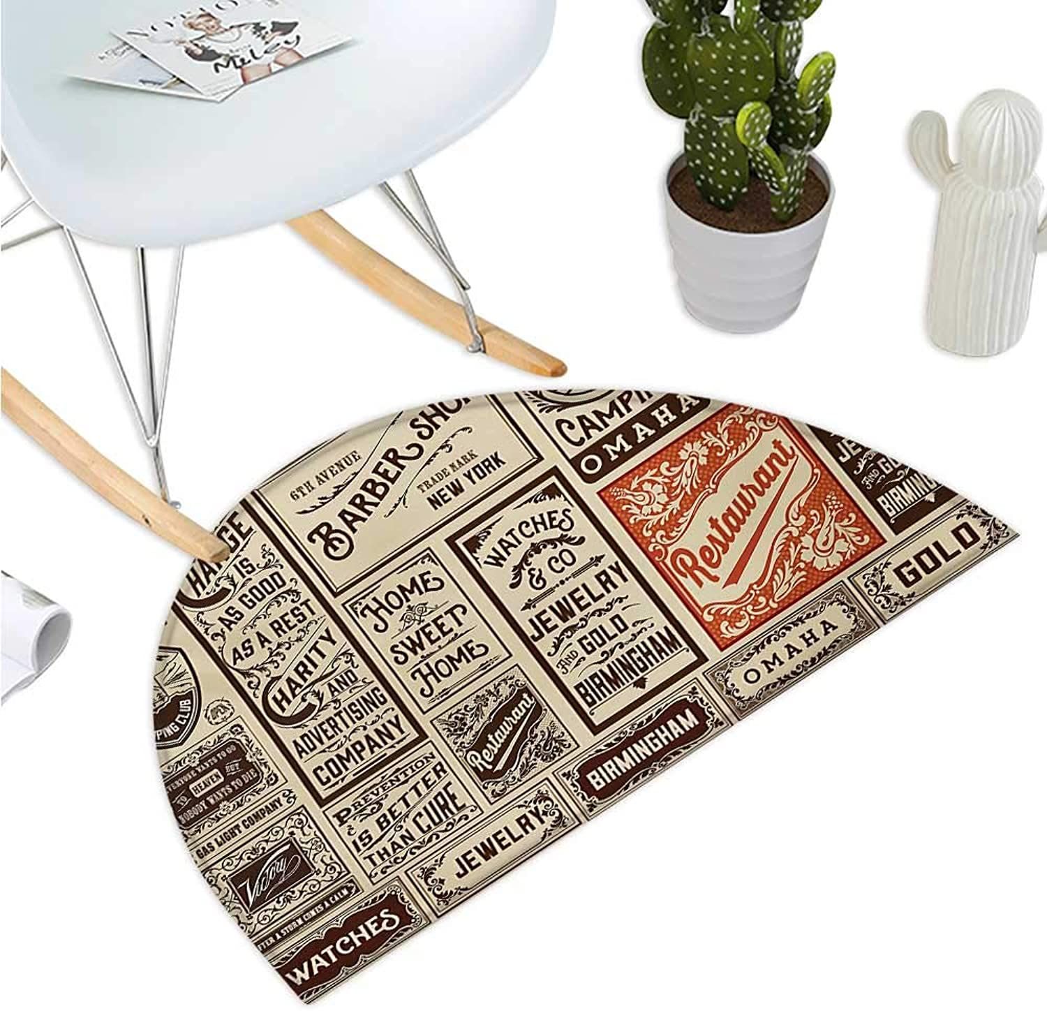 Antique Semicircular Cushion Mega Pack Old Adgreenisement Designs Labels Collections Newspaper Nostalgia Bathroom Mat H 43.3  xD 64.9  Cream Brown orange