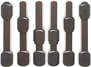 WONDERKID Top Quality Adjustable, Reusable Child Safety Locks - Latches to Baby Proof Cabinets, Doors & Appliances (Brown)