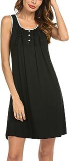Hotouch Sleepwear Womens Nightgowns Cotton Night Shirts Sleeveless Sleep Dress S-XXL