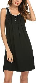 Sleepwear Womens Nightgowns Cotton Night Shirts Sleeveless Scoop Neck Sleep Dress S-XXL