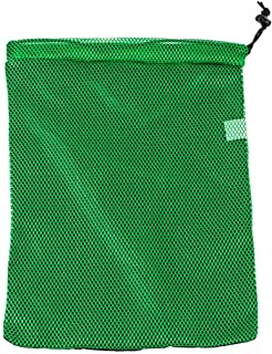 """SGT KNOTS Polyester Mesh Shoe Bag with Paracord 550 Drawstring for Sports, Gym, Hiking & More (11"""" x 14"""", KellyGreen)"""