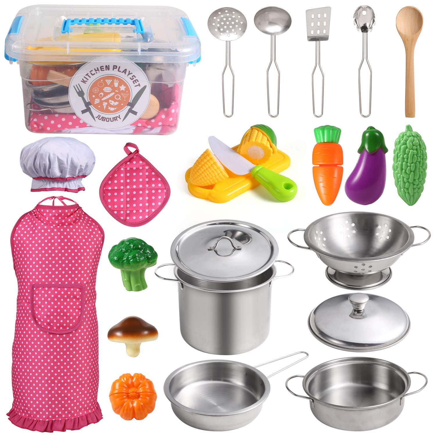 Juboury Kitchen Pretend Play Toys With Stainless Steel Cookware