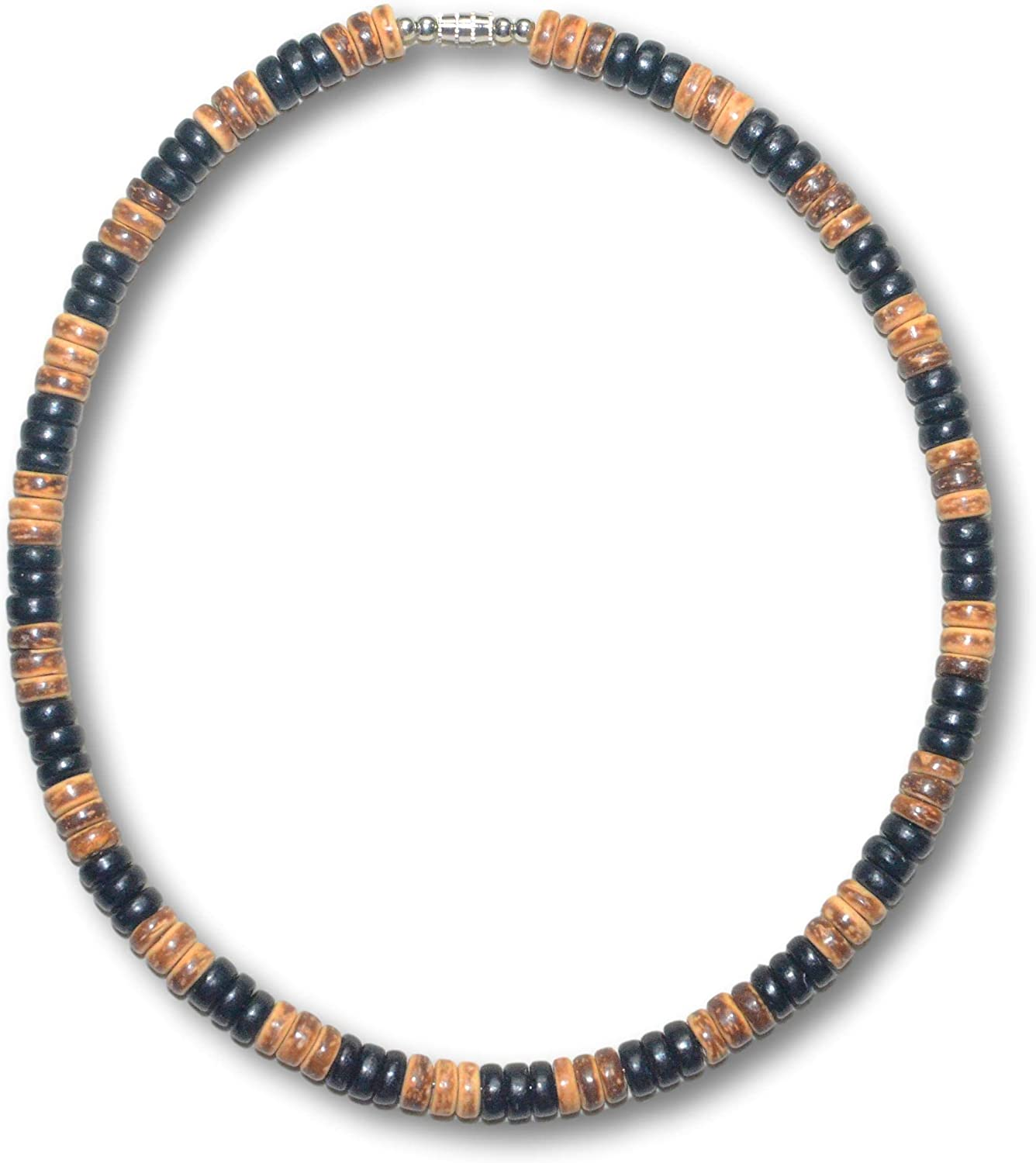 Native Treasure 14inch to 22 inch Real Wood 3 Black 3 Tiger Coco Bead Surfer Necklace Sturdy Twist Lock Clasp - 8mm (5/16