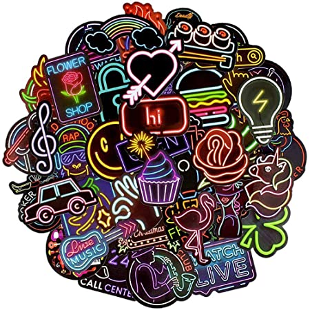 BETOY Adesivi al Neon, 100 Pezzi Adesivi al Neon per Bambini Neon Light Sticker Adesivi Graffiti Decal Vinyl Deco Stickers per Laptop, Valigie,Skateboard,Moto, Snowboard,Decorazione di Festa,4-8cm