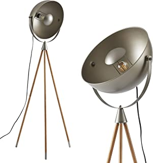 Ambiore Wood Tripod Floor Lamp with Complimentary Bulb Kepler - Industrial Elegant Indoor Light for Modern Living Room and Bedroom - Solid Wood Walnut Stand with Gun Metal Bowl Shade - Grey & Walnut