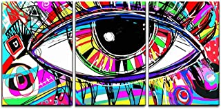 wall26 3 Piece Canvas Wall Art - Original Abstract Digital Painting of Human Eye, Colorful Composition - Modern Home Decor Stretched and Framed Ready to Hang - 24