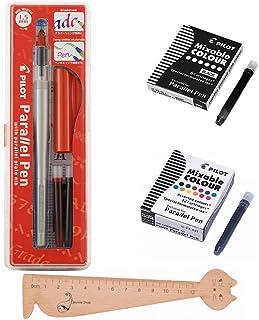Lot Pilot Parallel Pen 1,5mm + 1caja de 12cartuchos de tinta, varios colores + 1caja 6cartuchos negras + 1regla marcapáginas en madera blumie