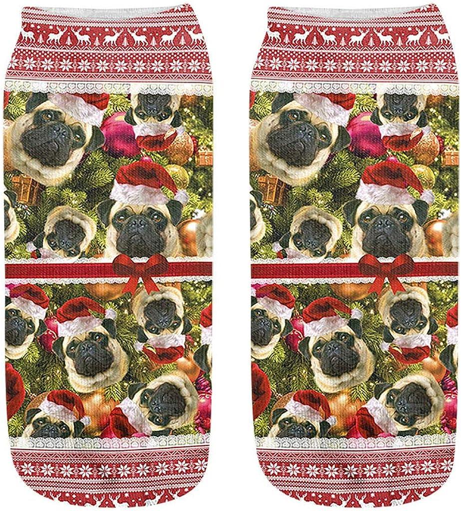 Sayhi Christmas Kids Crew Short Socks, Santa Snowman Socks, Crew Cozy Socks Women Fancy Xmas Holiday Design Gift