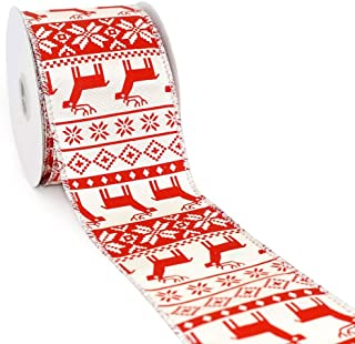 CT CRAFT LLC Ivory Grosgrain with Red Deer Wired Ribbon - 2.5 Inch x 10 Yards x 1Roll