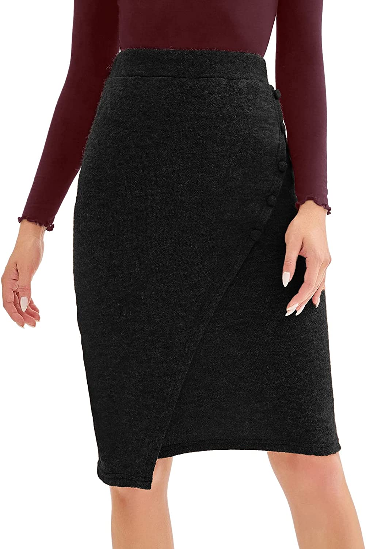LIUMILAC Women Elastic Knit Hip-Wrapped Midi Skirt Bodycon Pencil Skirts
