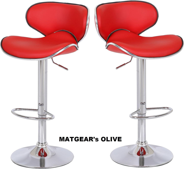 METGEAR Olive Red Adjustable, Swivel Set of 2 Bar Stools