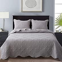 NEWLAKE Microfiber Lightweight 3 Piece Bedspread Coverlet Set,Embossed Wavelet Pattern, Queen Size