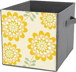 Cubes de rangement pliables en toile avec motif jaune et crème - Grande capacité - Panier de rangement pliable et panier à...