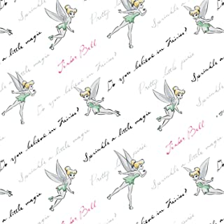 Disney Tinkerbell Do You Believe? In White Fabric by the Yard
