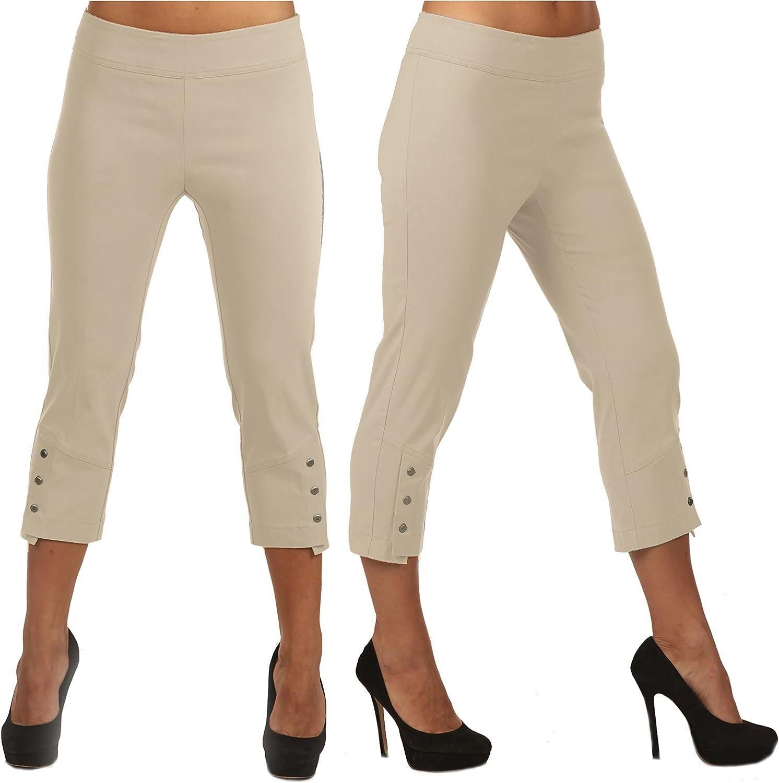 Lior Paris Leela Slim Fit Capri with Three Button Detail.