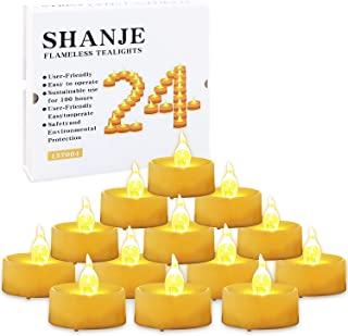 CXMYKE Flameless Tealight Candles, LED Tea Lamp,Amber Yellow Flashing Light Bulb,Battery Operation Fake Candle,100 Hours Life for Decorative Love,Party,Christmas-24Pack