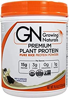 Growing Naturals Rice Protein Isolate Powder, Vanilla Blast, 465-Gram
