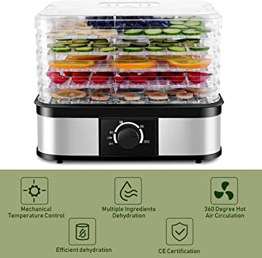 Food Dehydrator, Fruit Vegetable Dryer with 5 Trays, Adjustable Temperature Control