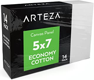 "Arteza 5x7"" White Blank Canvas Panel Boards, Bulk Pack of 14, Primed, 100% Cotton for Acrylic Painting, Oil Paint & Wet Art Media, Canvases for Professional Artist, Hobby Painters & Beginners"