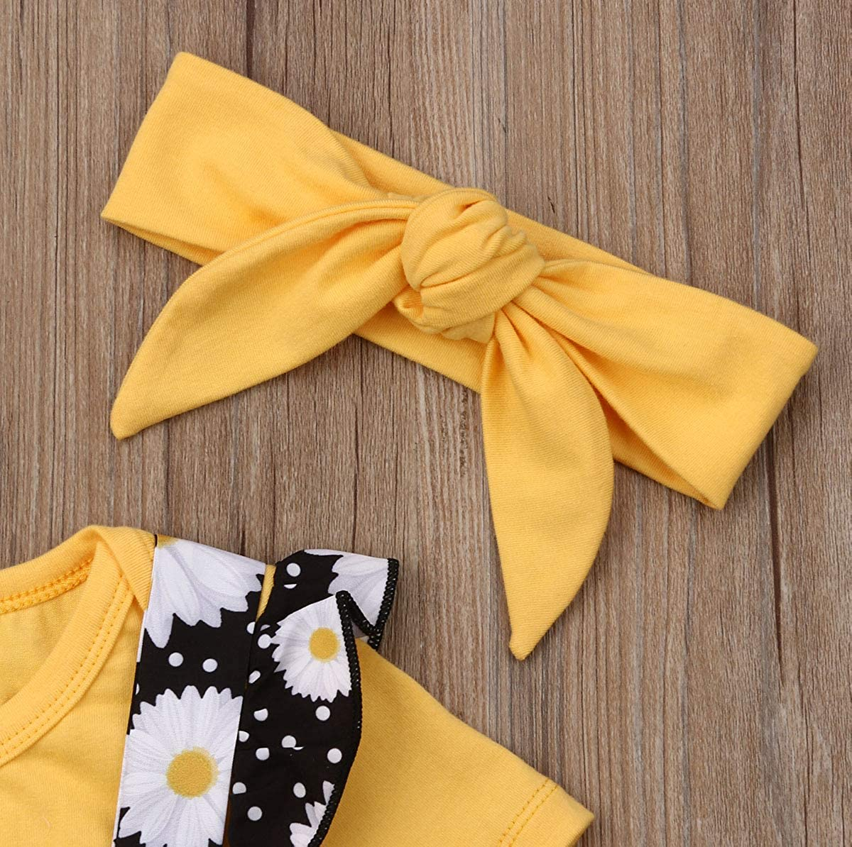 Toddler Baby Girls Ruffles Dots Bowknot Shirt+Overall Skirt+Headband Outfits Set School Uniform