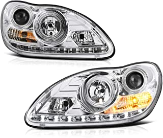 For 2003-2006 Mercedes-Benz W220 S-Class D2S Non-Adaptive Model LED Strip Chrome Housing Xenon HID Projector Headlight Replacement Headlamp Assembly Driver & Passenger Side