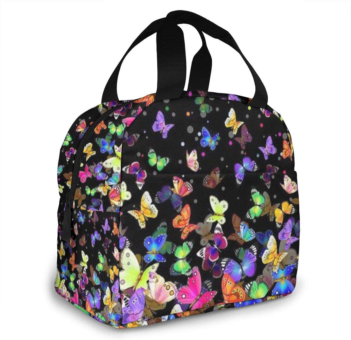 Colorful Butterfly Lunch Bag Women Insulated Cooler Lunchbag Reusable Leakproof Tote Box for Girls Picnic Work School Camping