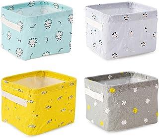 XGzhsa Panier de Rangement, boîtes de Rangement Pliables en Tissu, 4 paniers de Rangement de Bureau avec poignées Idéal po...