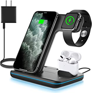 WAITIEE Wireless Charger, 3 in 1 Qi-Certified 15W Fast Charging Station for Apple iWatch Series SE/6/5/4/3/2/1,AirPods, Compatible for iPhone 12/11 Series/XS MAX/XR/XS/X/8/8 Plus/Samsung (Black)