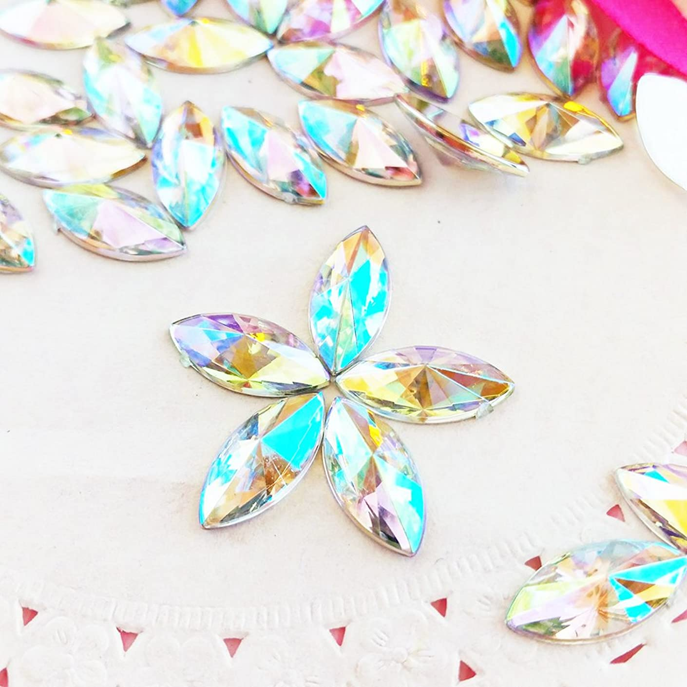 30 pcs 6x14mm Marquise Crystal AB Glittery Acrylic Special Effect Rhinestone includes Rhinestones Flat Back Samples from GreatDeal68