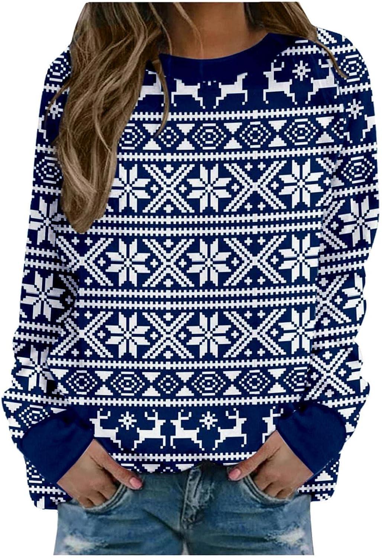 Christmas Sweatshirt for Women Reindeer Printed Long Sleeve Crewneck Pullover Shirts Oversized Hoodie Tops