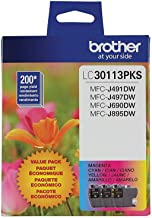 Brother Genuine LC30113PKS 3-Pack Standard Yield Color Ink Cartridges, Page Yield Up to 200 Pages/Cartridge Includes Cyan,...