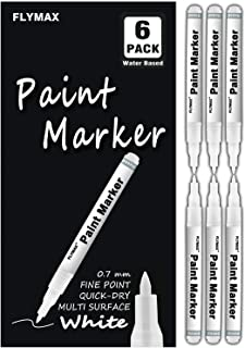 White Paint Pen, 6 Pack 0.7mm Acrylic White Permanent Marker White Paint Pens for Wood..