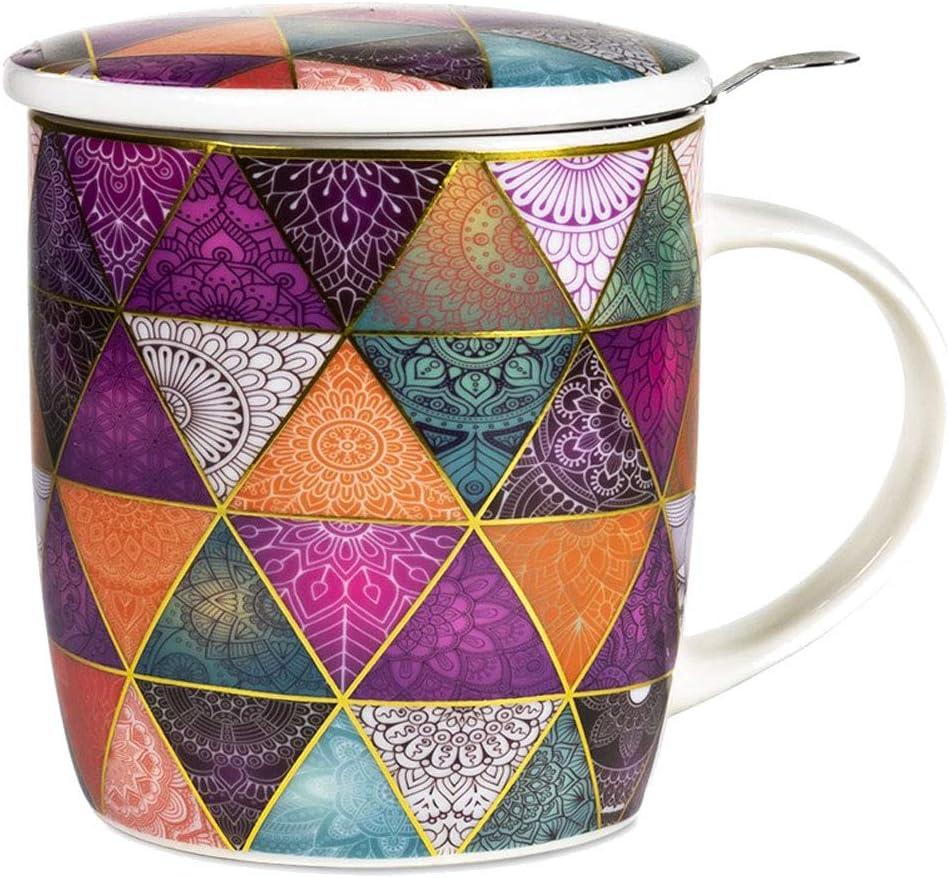 Zen et Ethnique Taza con infusor de té en Caja de Regalo, diseño de Patchwork