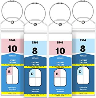 GreatShield Narrow Cruise Luggage Tag Holder with Zip Seal & Steel Loops, Weather Resistant PVC Pouch - Clear (4 Pack)