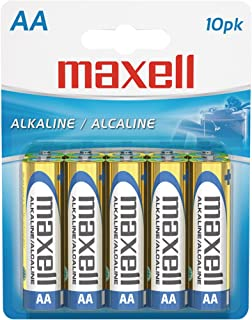 Maxell 723410P Ready-to-go Long Lasting and Reliable Alkaline Battery AA Cell 10-Pack with High Compatability