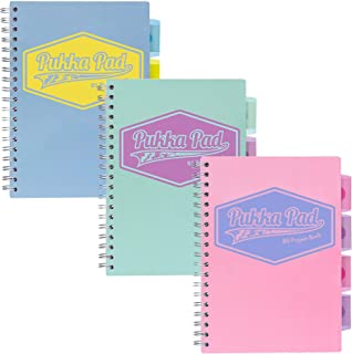Pukka Pad 5-Subject Divider Notebook 3-Pack 7 x 10 In. 100 Premium 80 GSM Blue, Pink, Teal