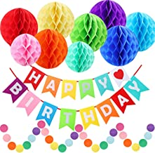 Happy Birthday Decorations, Happy Birthday Banner, Rainbow Birthday Party Decorations with Colorful Honeycomb Pom, Circle ...