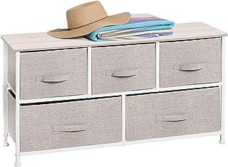 mDesign Cómoda de tela – Práctico organizador de armarios con 5 cajones – Sistema de almacenamiento para el dormitorio, apartamentos y salas pequeñas – beige