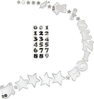 ACI PARTY AND SPIRIT ACCESSORIES Graduation Garland White with Metallic Silver