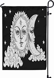 GROOTEY Garden Flag Stand,Welcome Garden Flag Sun Moon Face Cloud Stars Stylized as Engraving Print Bags Decor Element Day Night Astrology Symbol 12X18 Inches,Garden Flag Set,Black Green