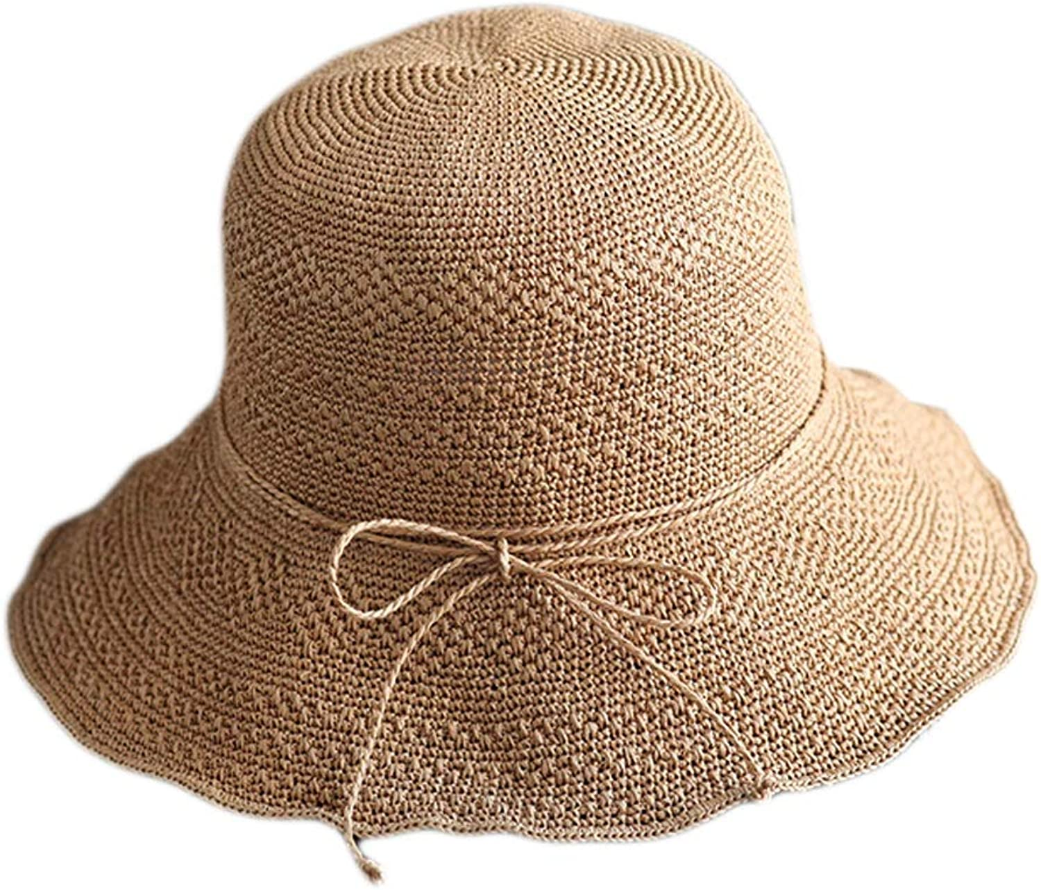 Foldable WideBrimmed Summer Beach Hat, Beach Hat, Simple Bow Sun Hat, Foldable 3 colors (color   Brown)